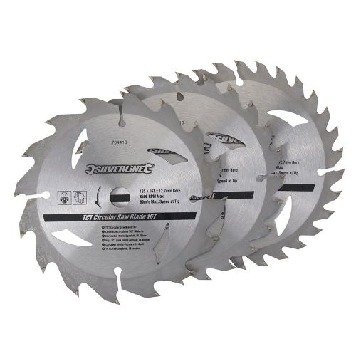3 Pack Silverline 704410 TCT Circular Saw Blades 16, 24, 30 Teeth 135mm x 12.7mm
